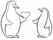 Penguins with Valentine heart, contours