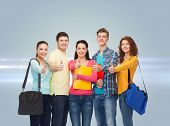 friendship, future, education and people concept - group of smiling teenagers with folders and schoo