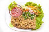 image of catfish  - crispy catfish spicy salad with mango and sweet sauce Thaifood - JPG