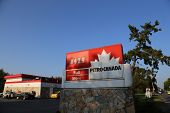 Vancouver, BC Canada - August 17,  2014 : One side of Petro Canada gas station in Van BC Canada. The