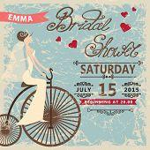 Retro Bridal shower invitation.Bride on retro bicycle