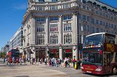 LONDON, UK - JULY 29, 2014: Regent street in London, tourists and busses