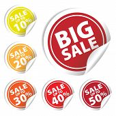 Big Sale Tags With Sale Up To 10 - 50 Percent Text On Circle Tags