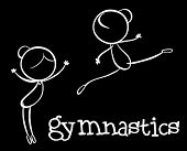 Illustration of stickmen doing gymnastics