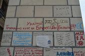 KIEV, UKRAINE - APR 19, 2014 Graffiti - Ukraine goes in Brussels and Eurounion. Ukrainian Putsch of