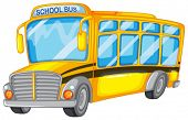Illustration of a closeup school bus