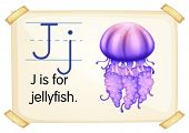 Illustration of a flashcard with letter J