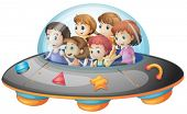 Illustration of many children on a spaceship
