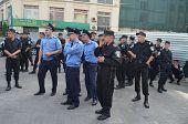 KIEV, UKRAINE - AUG 24, 2014. Ukrainian police during President Poroshenko Victory parade in downtow