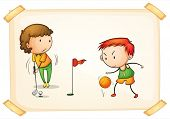 Illustration of a boy playing golf and a boy playing basketball