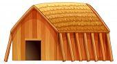 Illustration of a single wooden cottage