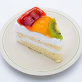 Piece Of Cake With Fresh Fruit Isolated On White Background.