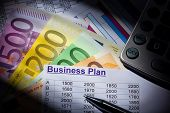 a business plan for starting a business. ideas and strategies for business creation. euro banknotes