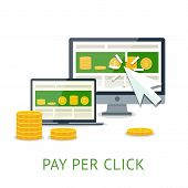 Pay per click illustration with pc and notebook