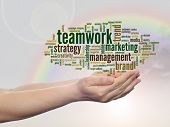 Concept or conceptual abstract teamwork or business marketing word cloud or wordcloud in man or woma