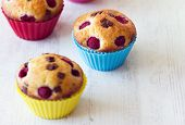 Group Of Tasty Muffins Placed On Table