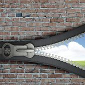 Conceptual image with opened zipper and blue sky behind it