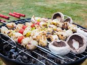 Barbecuing Chicken, Vegetables And Champignon On Spear Over Charcoal Grill