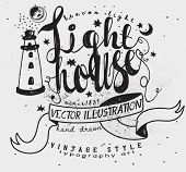 Lighthouse Whimsical Label - Whimsical vintage illustration with hand lettering and hand drawn, typo