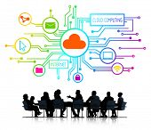 Silhouettes of Business People Cloud Computing Concepts