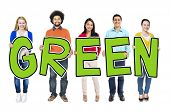 Group of People Holding Letter Green Concept