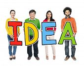 Multiethnic Group of People Holding Letter Idea