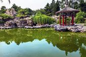 Red Pavilion Rock Garden Water Pond Temple Of Sun City Park Beijing China