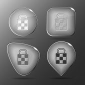 Bag. Glass buttons. Raster illustration.