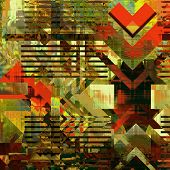 art abstract colorful  geometric pattern; acrylic  background in gold, olive, green, red and black c