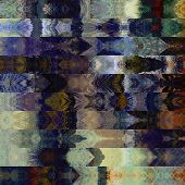 art abstract colorful graphic background; geometric border stylized pattern in blue, beige and black