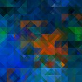 art abstract colorful geometric seamless pattern; background in blue, orange, green and black  color