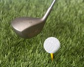 foto of foursome  - Detailed image of a  golf swing from the tee just before impact - JPG