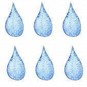 Watercolor Water Drop Icon Set  Textured Background Isolated Over White