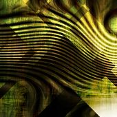 art abstract monochrome  waves pattern acrylic  background in gold, black and green colors