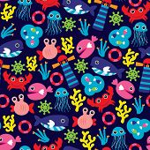 Seamless ocean marine theme jelly fish and coral illustration background pattern in vector