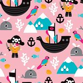 Seamless little girls pirates and whale illustration fun kids adventure theme background pattern in