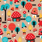 picture of  midget elves  - Seamless little gnome and fall woodland mushroom village illustration background pattern in vector - JPG
