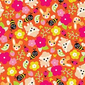 Seamless colorful sheep blossom bumble bee and birds illustration spring background pattern in vecto
