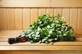 bunch of green birch twigs in sauna