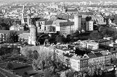 Royal Wawel castle with park in Krakow, Poland (black and white photo)
