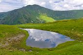 small lake in Carpathian mountains