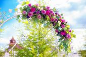 Arch For The Wedding Ceremony. Floristic Composition In Vintage Style. The Provence.