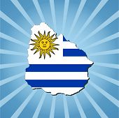 Uruguay map flag on blue sunburst illustration