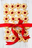 Christmas cookies with red candied cherries
