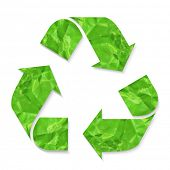Green Crushed Paper Recycle Sign, Vector Illustration