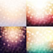 4 Blurred Backgrounds Set, With Gradient Mesh, Vector Illustration