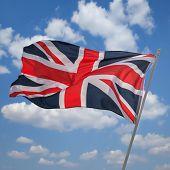 british flag on sky background