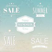 Summer Labels Set, With Gradient Mesh, Vector Illustration