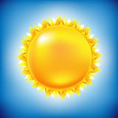Sun With Sky, With Gradient Mesh, Vector Illustration
