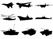 stock photo of afterburner  - Silhouettes of military technicals of different combat arms - JPG